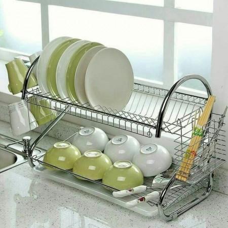 不銹鋼S型雙層碗盤瀝水收納架 烘碗機廚房滴水置物架碗盤水槽瀝水架廚房用品 不銹鋼S型雙層碗盤瀝水收納架烘碗機廚房滴水置物