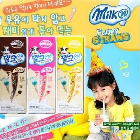 48小時快速出貨【韓國進口】Denmark Milk 神奇吸管讓鮮奶隨心變口味~草莓/香蕉口味