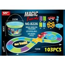 48小時出貨/103PCS桶裝夜光軌道車 美國熱銷魔術軌道車 兒童玩具