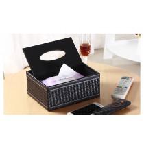 現貨/黑格紋面紙盒 經典皮革方格紋多功能面紙收納盒-黑紙巾盒客廳房間浴室