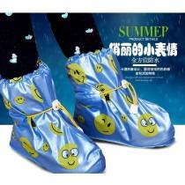 兒童兩鞋套 雨鞋套防水鞋套兒童防滑男女童平底鞋套加厚耐磨藍/粉兩色雨天必備