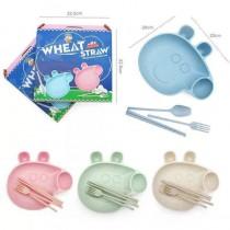 買一送一 現貨出清 粉紅小豬四件組餐具 新款小麥秸稈小麥餐具卡通小豬餐具 家用小麥秸稈無毒防摔餐具套裝 餐盤組 小麥秸稈餐具組 四件套組