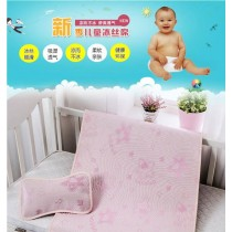 [預購5月30號到貨]買一送一-兒童卡通冰絲涼蓆小恐龍天絲空調軟席二件套寶寶嬰兒牀可摺疊水洗兒童