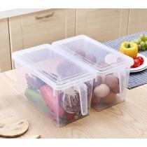手柄冰箱收納盒-透明款 日本原裝進口帶蓋透明食物保鲜盒冰箱櫥櫃桌面手拿儲存盒