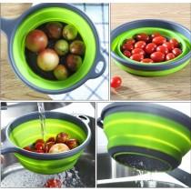 手柄瀝水籃 雙層帶手柄瀝水籃圓形手把洗菜清洗置物收納水果蔬菜瀝乾過濾水果籃置物籃