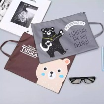 卡通文件袋 韓國文具卡通可愛手提牛津布文件袋A4學生公文拉鍊帆布資料檔案