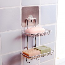 無痕双層帶掛勾肥皂架 強力無痕帶掛勾雙層香皂架 肥皂架