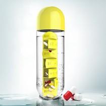 限量買一送一不挑色  藥盒水瓶 附七盒藥盒創意水杯二合一戶外攜帶水瓶 五色