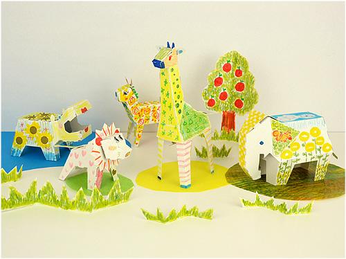 立体彩绘纸娃娃 - 动物聚会