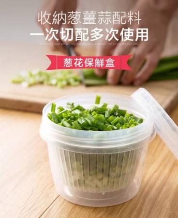 (兩個一組)葱花保鮮收納盒 冰箱水果收纳盒姜片大蒜保鲜盒厨房便携沥水盒