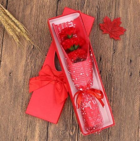 蝴蝶結康乃馨香皂花 香氛5朵 母親節送禮(紅色)