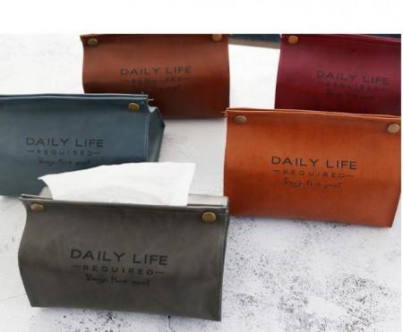 北歐皮革面紙盒 面紙盒 抽紙套 抽紙盒 衛生紙盒 衛生紙套 北歐復古按扣式抽紙盒