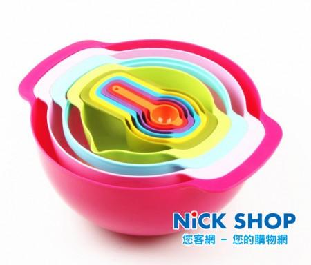 48hr /彩虹 烘焙攪拌碗 量杯 量勺 濾網 瀝水 10件套組 現貨