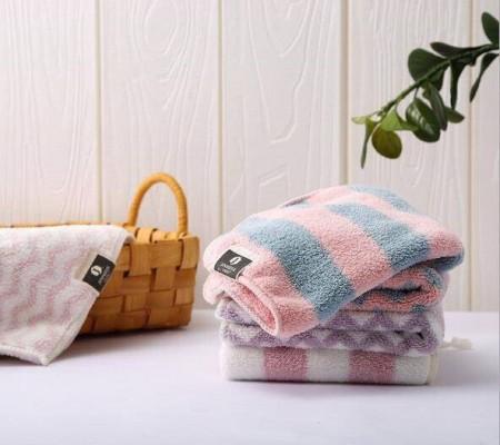 珊瑚絨格紋毛巾 親膚不掉毛 細膩柔軟 雙面絨毛面 強力吸水 加倍舒適