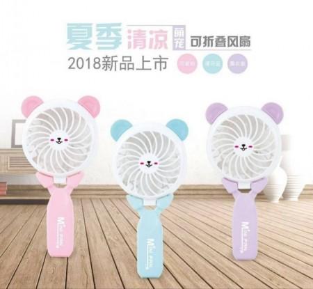 萌貓折疊手持風扇 三色隨機出貨 夏日辦公室必備涼夏