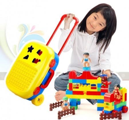 48小時出貨 / 行李箱拼插積木玩具/拉桿箱/超大顆粒場景