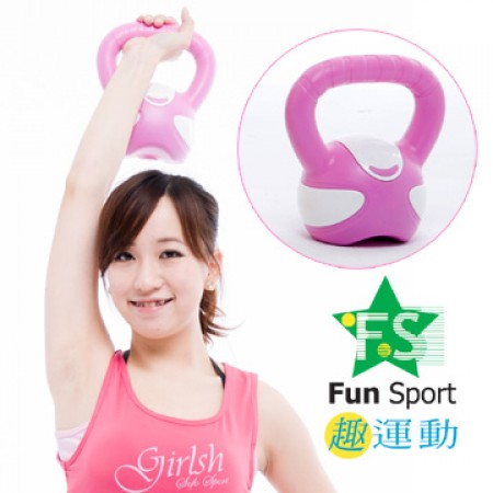 《Fun Sport》3公斤壺鈴kettlebell(粉紅)-台灣製造