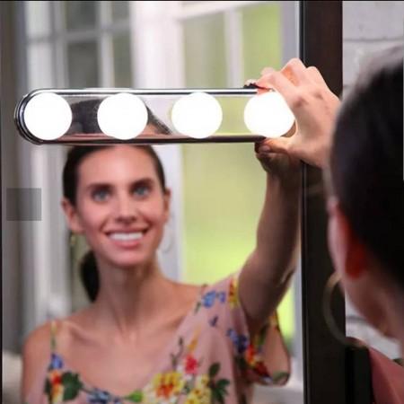 吸盤式化妝燈  電池款黏貼鏡 前補光燈泡 無線免打孔梳妝臺 化妝鏡吸盤式鏡子燈
