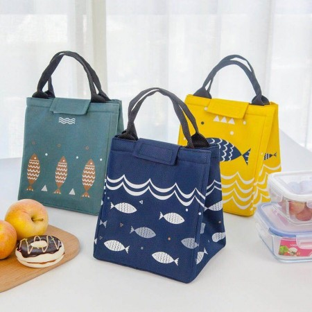 北歐魚圖保溫提袋 方便攜帶 露營野餐好夥伴 內層鋁箔保溫層容量大 保溫性能好加厚手提設計 好提好拿