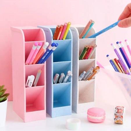 斜插式多功能收納盒  桌面收納糖果色 多功能四格收納盒 雜物 文具 空間收納盒 化妝品收納 辦公室擺件整理格