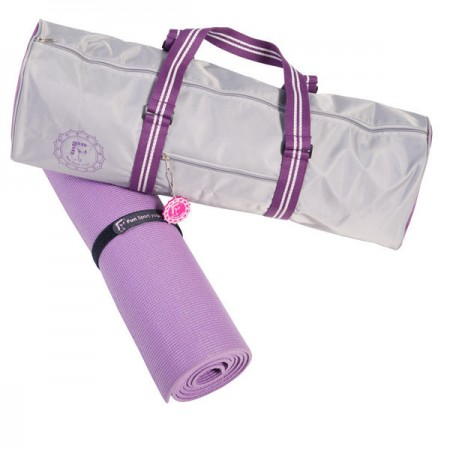 《Fun Sport》芙司時尚瑜珈背袋(紫)+PER瑜珈墊(紫)+扣環束帶+芙司鑰匙圈