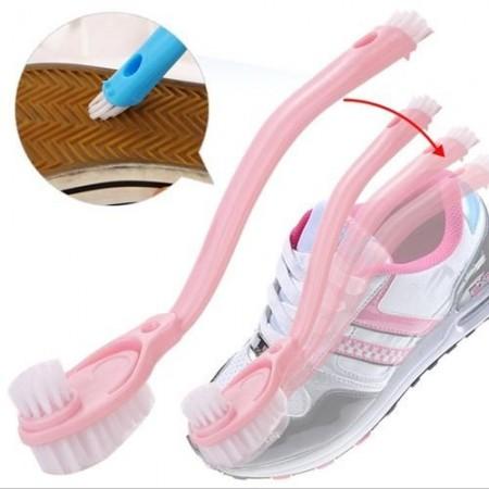 48小時快速出貨/ 多功能雙頭長柄清潔洗鞋刷 三刷頭軟硬毛設計 不挑色
