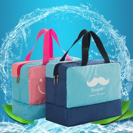 48小時出貨 / 沙灘 游泳包 乾濕分離男女防水包 大容量洗澡浴衣袋  粉色~夏天4