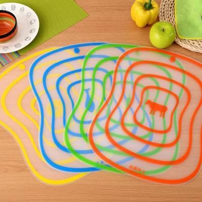 磨砂砧板(四片一組) 可彎砧板 料理板 切菜板 料理用具 廚房用具 食物調理板 軟砧板