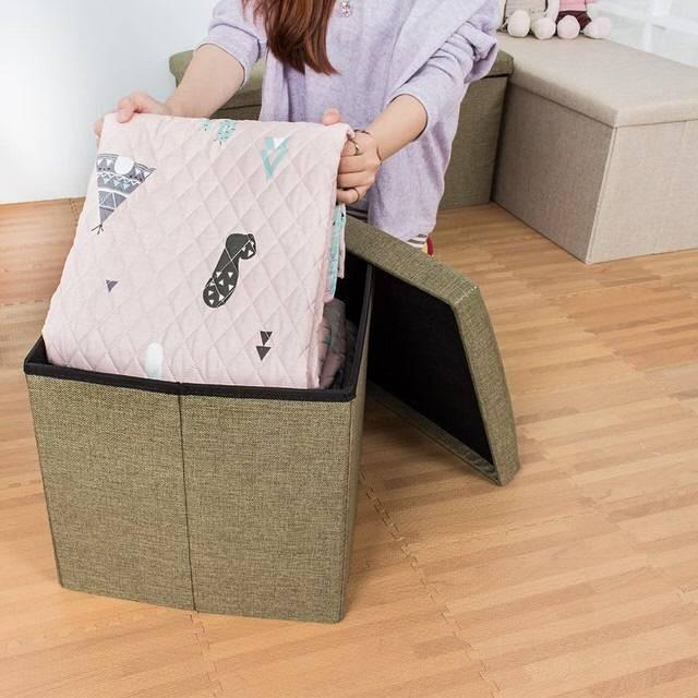 日式棉麻儲物凳 收納沙發椅 收納箱 收納盒 置物桶 折疊收納凳