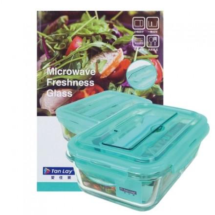分隔保鮮盒 愛佳寶 1000ml《附湯匙叉子》分隔 耐熱 玻璃保鮮盒