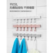 免打孔無痕六連掛勾 衣櫥 櫥櫃 廚房 衛浴  可重複黏貼 免打孔6掛勾