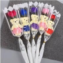 (5支一組不挑色)小熊玫瑰香皂花束 情人節 生日 畢業 母親節 父親節 教師節 花束 婚禮小物 小熊花束