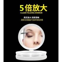 5倍折疊化妝鏡 LED折疊圓餅雙面化妝鏡 高清5倍放大 USB便攜式補光梳妝鏡子 隨身鏡檯燈小夜燈