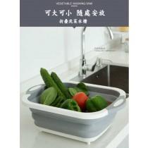 摺疊瀝水盆切菜板 可折疊便攜式多功能洗菜籃廚房瀝水籃(洗菜籃)