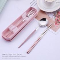 不鏽鋼三件套餐具組  環保筷 環保餐具 環保湯匙 外出 餐廳 自帶 攜帶 餐具