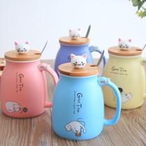 (4入一組)創意貓咪 復古陶瓷馬克杯 帶蓋勺 可爱清新簡約 辦公室牛奶早餐水杯子