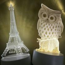 3D壓克力造型燈 銀河燈 貓頭鷹燈 鐵塔燈 LED燈 造型燈 夜燈 療癒神器