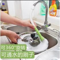 水槽清潔刷 2色隨機出貨 廚房衛生間水龍頭水槽清潔刷節水器洗鍋刷帶刷子軟管過濾嘴果蔬刷PVC軟管+尼龍刷毛材質 柔韌性好 可通水可清洗清潔幹淨