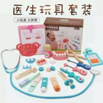 木質醫生玩具套裝 木制仿真醫藥箱男女孩辦家家酒 兒童