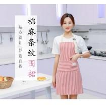 棉麻條紋圍裙 舒適百搭 清潔圍裙 家事圍裙 工作服 園藝 圍裙
