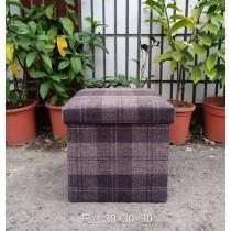日式棉麻儲物凳(格紋款) 收納沙發椅 收納箱 收納盒 置物桶 折疊收納凳