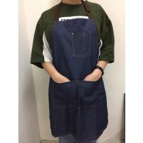 牛仔圍裙 耐用 防油汙 烘焙 咖啡廳 餐廳 工作服 手感柔軟 時尚設計 大方剪裁