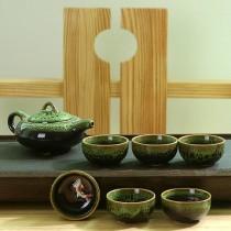 超殺降價!窑變魚茶具套裝 杯中魚 茶杯 七頭茶具6杯一壺 珍藏禮盒 顏色隨機出貨