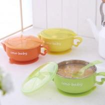 注水吸盤保温碗 兒童不鏽鋼注水保溫碗寶寶帶蓋帶勺吸盤碗嬰兒餐具 三色隨機出貨