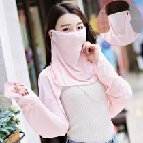 冰絲披肩口罩 夏季防曬冰絲披肩口罩披肩+口罩分離式方便配戴透氣