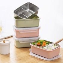 二格注水便當盒 304不銹鋼加深成人學生飯盒韓國簡約