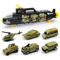 潛水艇收納車 玩具小汽車 軍事車滑行車3-9歲兒童玩具極速飆車
