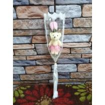 單支小熊玫瑰香皂花束 情人節 生日 畢業 母親節 父親節 教師節 花束 婚禮小物 小熊花束