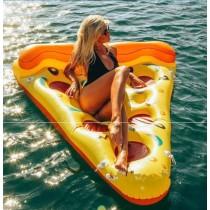 披薩充氣浮床 披薩造型游泳圈水上充氣浮床游泳圈成人游泳圈水上座椅大號
