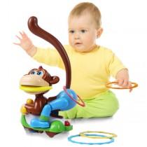48小時快速到貨兒童教育玩具 猴子套圈圈玩具 萬向電動搖擺猴 套圈猴 手眼協調遊戲